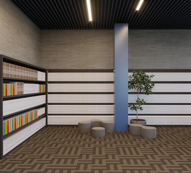 Nowoczesna biblioteka z projektami regałów i roślinami, renderowanie 3d