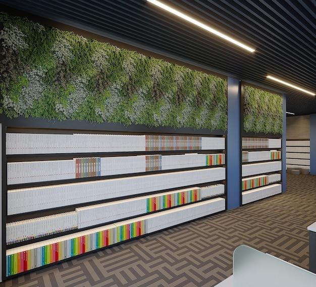 Nowoczesna Biblioteka Z Projektem Regału, Renderowania 3d Premium Zdjęcia
