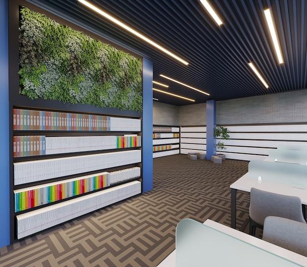 Nowoczesna biblioteka z projektowaniem regału, roślinami i biurkiem do nauki, renderowanie 3d