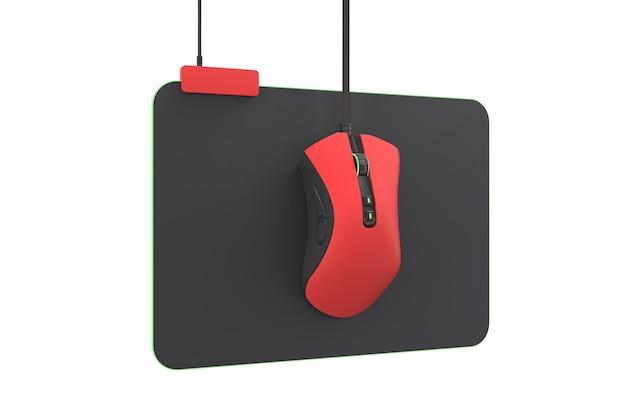 Nowoczesna czerwona mysz do gier na profesjonalnej podkładce na białym tle ze ścieżką przycinającą