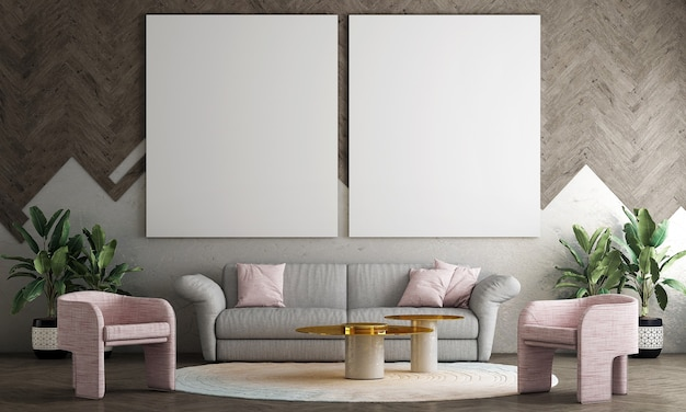 Nowoczesna dekoracja makiety wnętrza salonu i wzoru ściany drewnianej oraz pustego tła ramki płótna, renderowania 3d