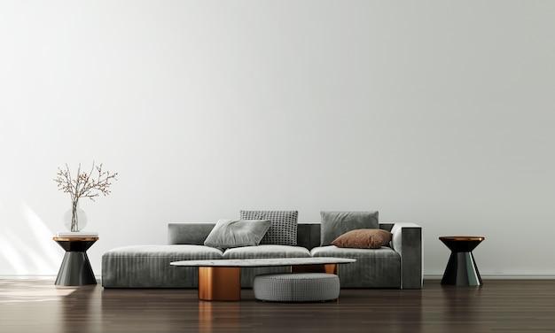 Nowoczesna dekoracja sofy i wnętrze salonu oraz puste białe tło wzór ściany