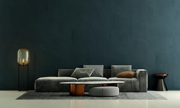 Nowoczesna dekoracja sofy i wnętrze salonu oraz puste tło z zielonym wzorem ściany