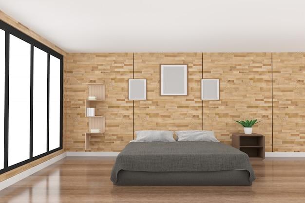 Nowoczesna dekoracja sypialni w drewnie parkietowym ze światłem z czarnego okna w renderingu 3d