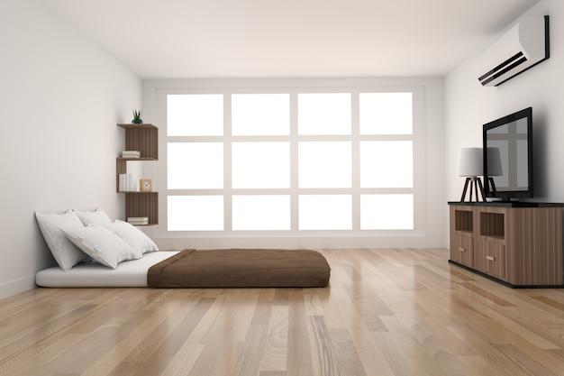 Nowoczesna dekoracja sypialni w drewnie parkietowym ze światłem z okna w renderowaniu 3d
