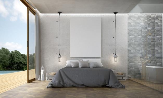 Nowoczesna dekoracja wnętrz i mebli na poddaszu oraz puste tło wzór ściany betonowej