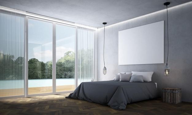 Nowoczesna dekoracja wnętrz i mebli sypialni oraz puste płótno na tle wzoru ściany