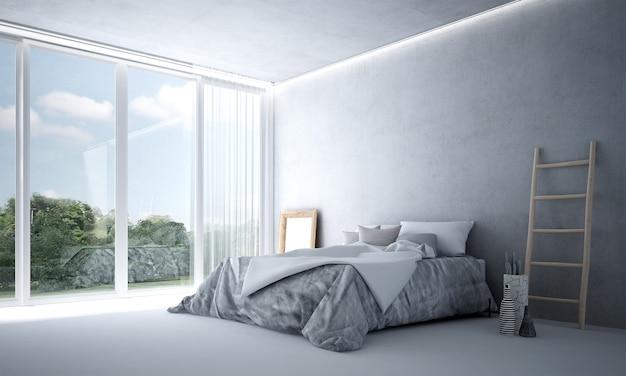 Nowoczesna dekoracja wnętrz i mebli sypialni oraz puste tło betonowej ściany i widok na ogród