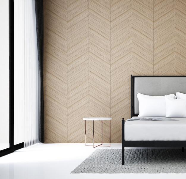 Nowoczesna dekoracja wnętrz i mebli w sypialni oraz drewniane tło wzór ściany