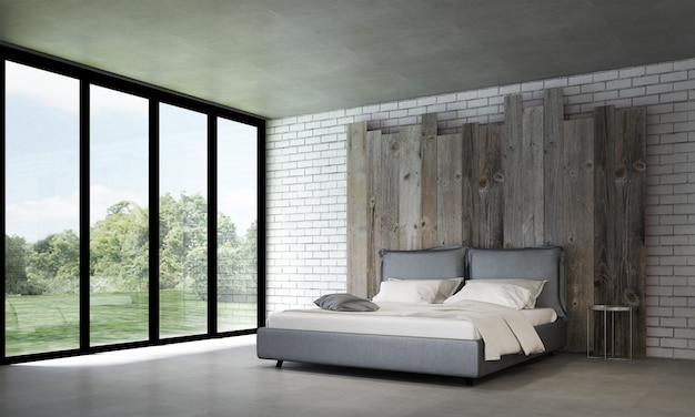 Nowoczesna dekoracja wnętrz i mebli w sypialni oraz puste drewniane tło wzór ściany