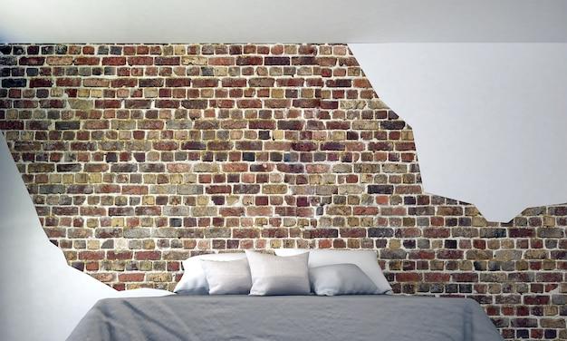 Nowoczesna dekoracja wnętrz i mebli w sypialni oraz pusty wzór tła z cegły