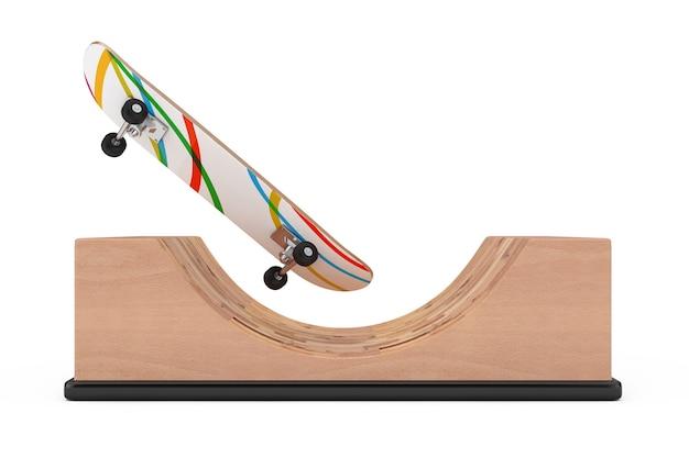Nowoczesna deskorolka z drewnianą rampą halfpipe na białym tle. renderowanie 3d