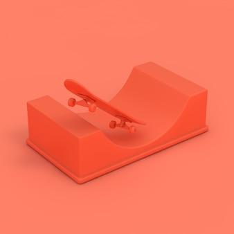 Nowoczesna deskorolka z rampą halfpipe w stylu pink clay na różowym tle. renderowanie 3d