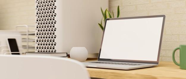 Nowoczesna domowa przestrzeń robocza z makieta pustego ekranu laptopa na drewnianym stole renderowania 3d