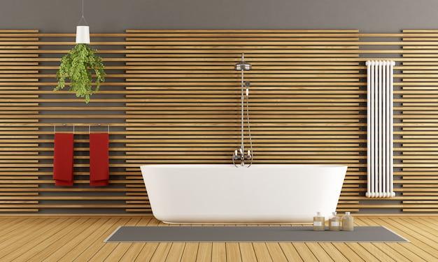 Nowoczesna drewniana łazienka z wanną