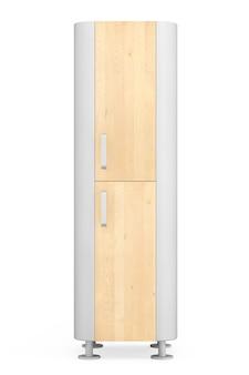 Nowoczesna drewniana szafka kuchenna na białym tle. renderowanie 3d