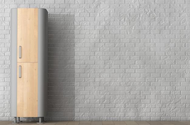 Nowoczesna drewniana szafka kuchenna przed ceglanym murem. renderowanie 3d