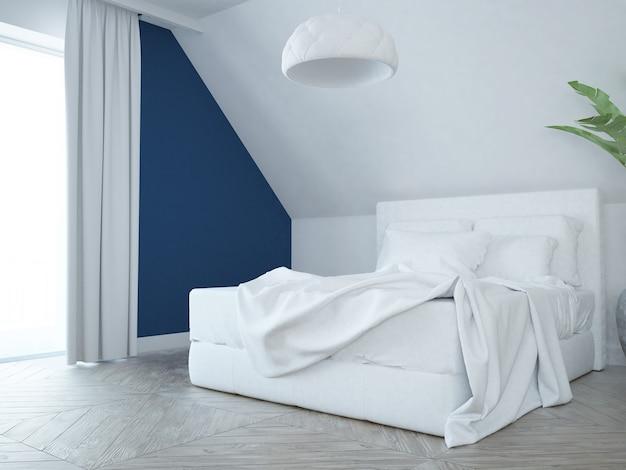 Nowoczesna elegancka luksusowa sypialnia w kolorze białym, różowym i niebieskim