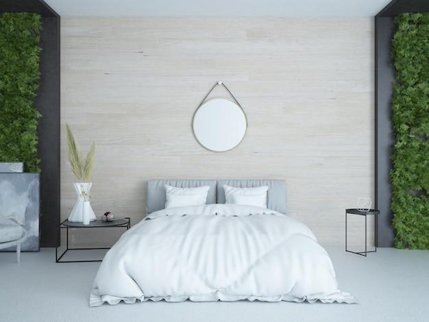 Nowoczesna elegancka luksusowa sypialnia z drewnianą ścianą