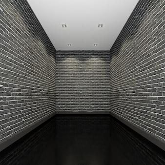 Nowoczesna galeria pusty pokój z czarnymi ścianami z cegły.