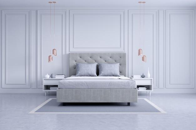 Nowoczesna i klasyczna aranżacja wnętrz sypialni, biała i szara koncepcja pokoju