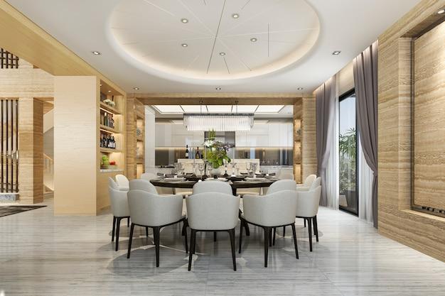 Nowoczesna jadalnia i kuchnia z salonem z luksusowym wystrojem w pobliżu ogrodu