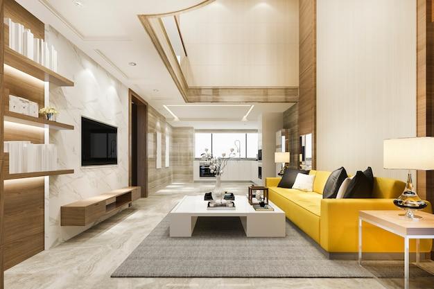 Nowoczesna jadalnia i żółty salon z wysokim sufitem