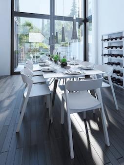 Nowoczesna jadalnia ze stojakiem na wino z białymi meblami i parkietem w kolorze szarym.