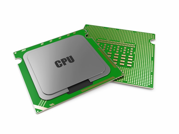 Nowoczesna jednostka centralna procesora na białym tle