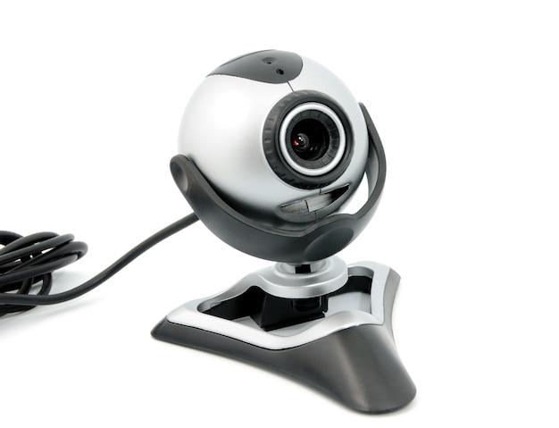 Nowoczesna kamera internetowa na białym tle