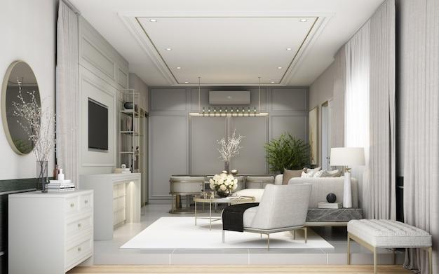 Nowoczesna klasyczna część dzienna z dekoracją ścienną i wbudowanymi meblami z sofą i fotelem na szarym renderowaniu 3d