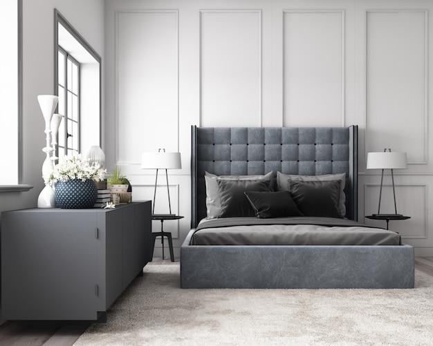 Nowoczesna klasyczna sypialnia ze ścianą ozdobioną klasycznym elementem i szarym odcieniem mebli renderowania 3d