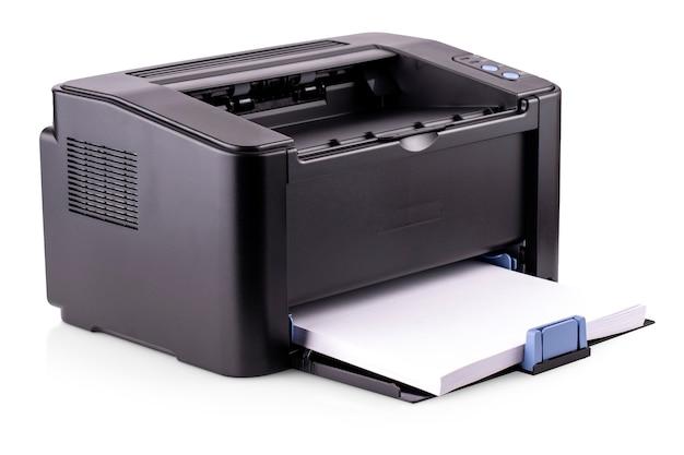 Nowoczesna kompaktowa domowa drukarka laserowa na białym tle