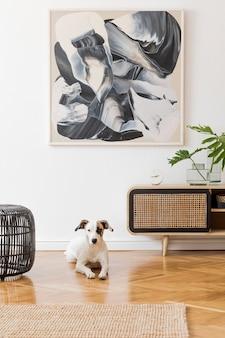 Nowoczesna kompozycja salonu z komodą projektową i mapą makiety w wystroju domu szablon