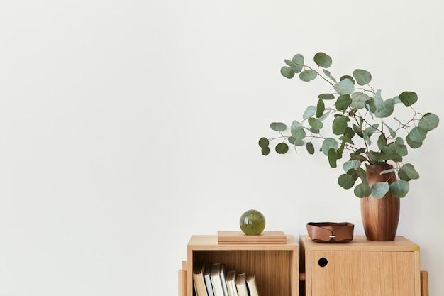 Nowoczesna kompozycja wnętrza salonu z designerskimi drewnianymi regałami, liściem eukaliptusa w wazonie, książką, dekoracją, szklaną kulą i kopią miejsca na białej ścianie.