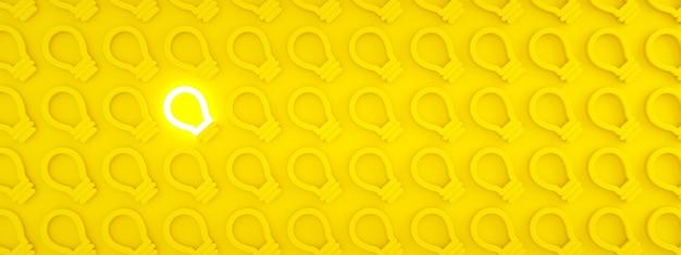 Nowoczesna koncepcja pomysłu na świecącą żarówkę, renderowanie 3d, obraz panoramiczny