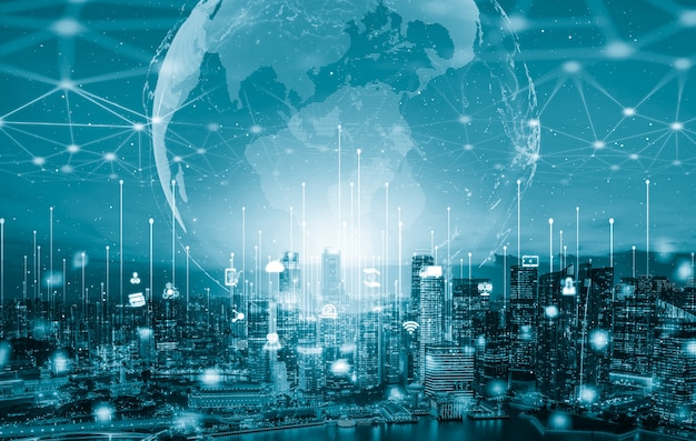 Nowoczesna kreatywna komunikacja i sieć internetowa łączą się w inteligentnym mieście