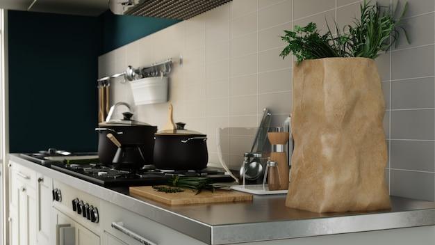 Nowoczesna kuchnia plakat wewnętrzny