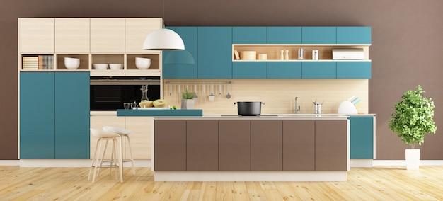 Nowoczesna kuchnia w kolorze brązowym i niebieskim