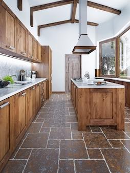 Nowoczesna kuchnia w stylu loft z wyspą kuchenną z okapem