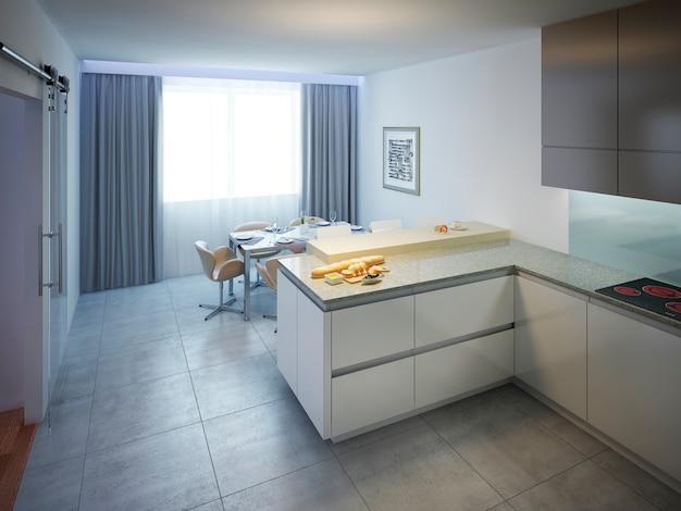 Nowoczesna kuchnia z białymi ścianami i podłogą wyłożoną kafelkami z kremowym barem kuchennym.