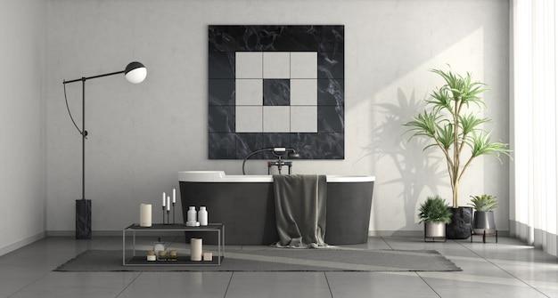 Nowoczesna łazienka urządzona w czerni i bieli