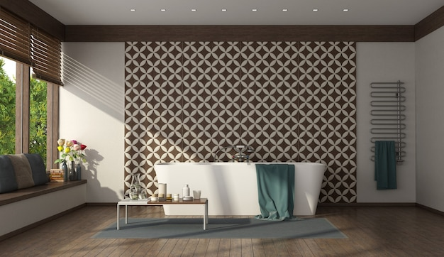 Nowoczesna łazienka z minimalistyczną wanną i płytkami ściennymi - renderowanie 3d