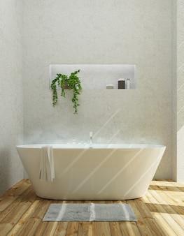 Nowoczesna łazienka z wanną, luksusowy apartament. renderowanie 3d