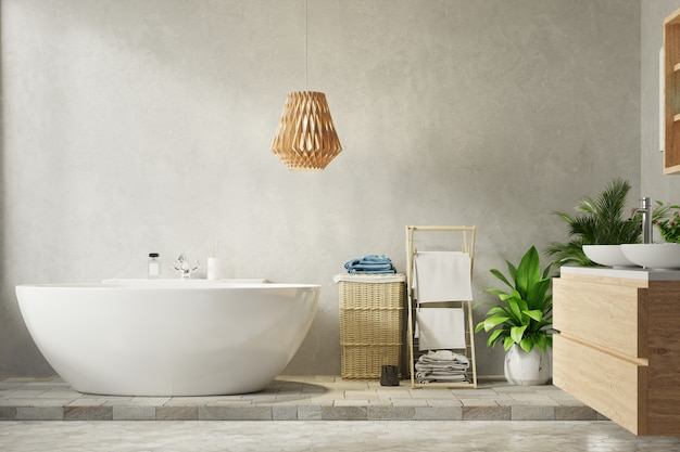 Nowoczesna łazienka ze ścianą cementową