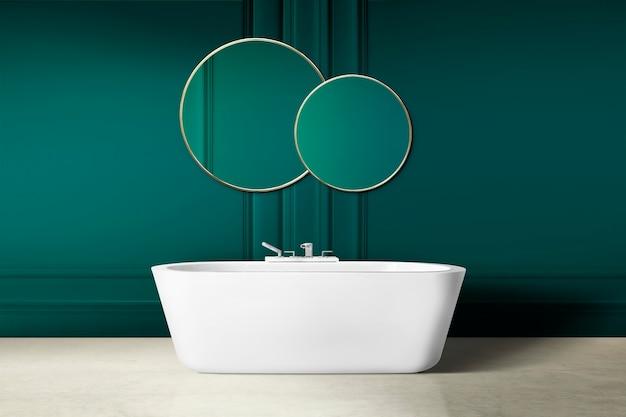 Nowoczesna luksusowa aranżacja wnętrza łazienki ze ścianą boazeryjną