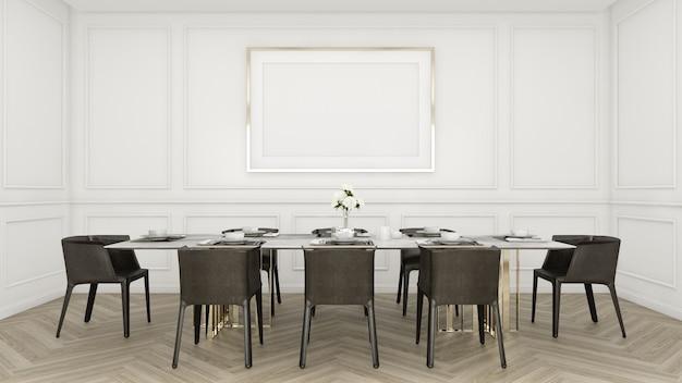 Nowoczesna luksusowa jadalnia ze stołem i krzesłem