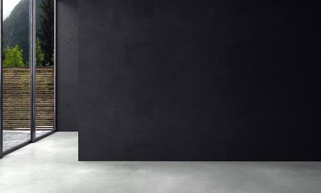 Nowoczesna makieta dekoracja wnętrz i pusty projekt salonu oraz czarne tło tekstury ściany i różowa sofa ze złotym stolikiem 3d renderowania