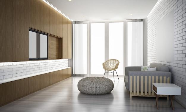 Nowoczesna makieta wnętrz salonu i drewniany wzór tła ściany