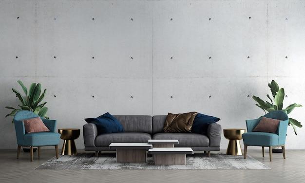Nowoczesna makieta wnętrza salonu ze starego betonowego wystroju tła ściany i zielonej sofy ze złotym stolikiem 3d renderowania